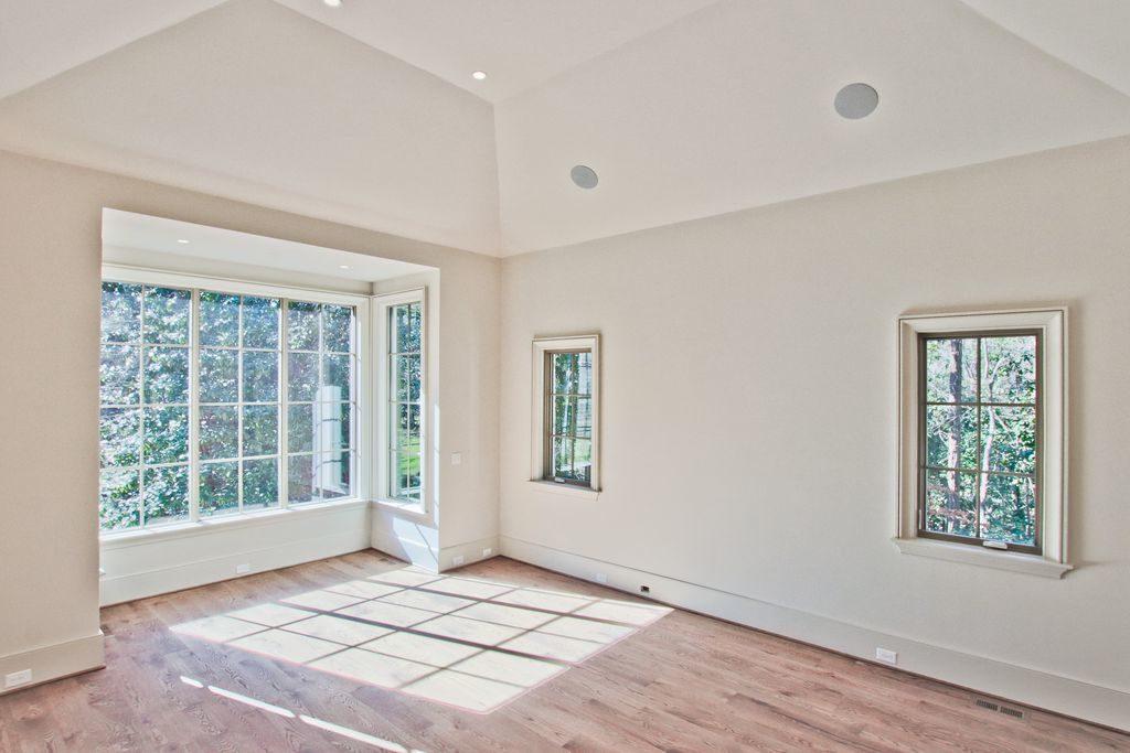 Hardwood Floors Bay Window Master Bedroom