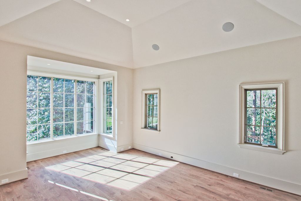 Hardwood Floors Bay Window Master Bedroom