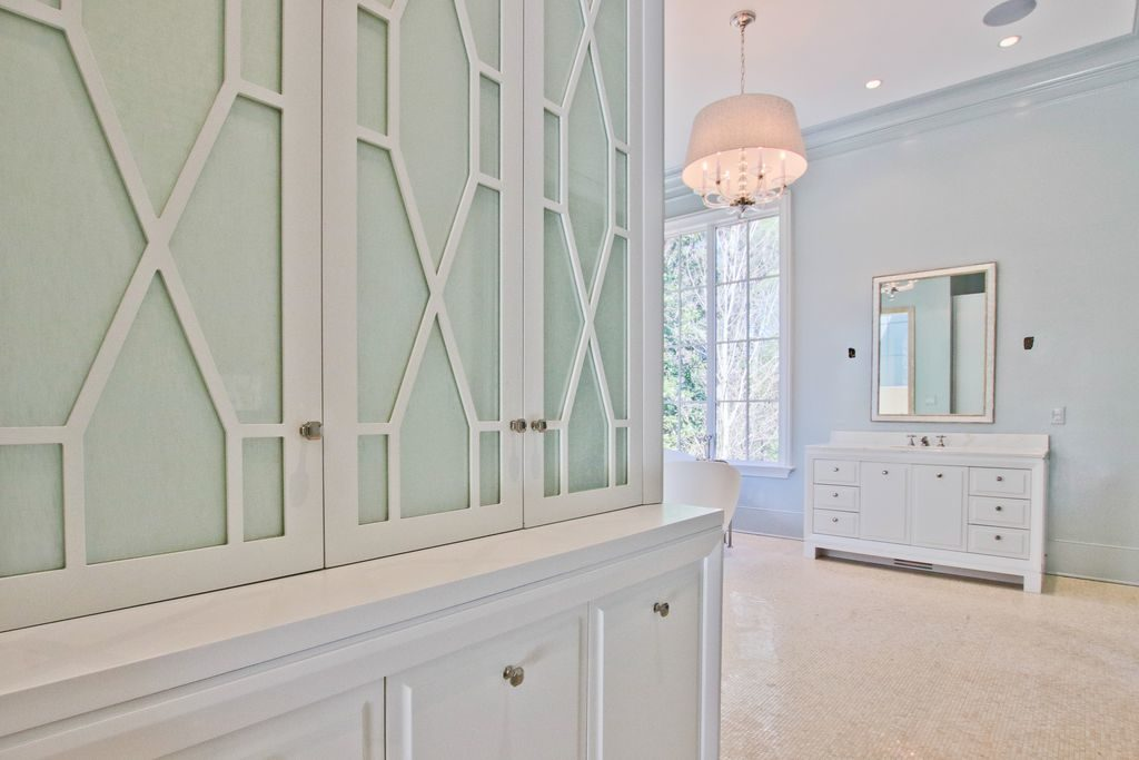 White Custom Cabinets and Tile Floor