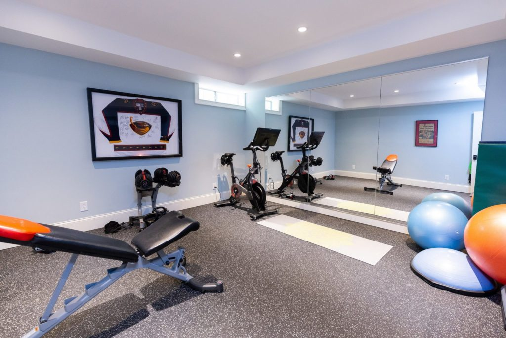 spacious basement level gym